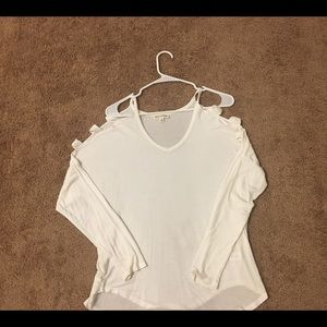 White cut out sleeve top
